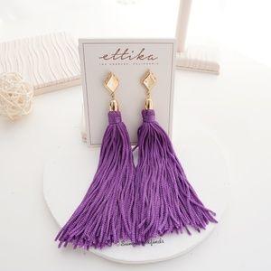 NWT Mon Cheri Silk Tassel Earrings in Purple Gold